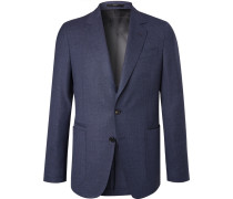 Blue Soho Slim-fit Mélange Wool Blazer