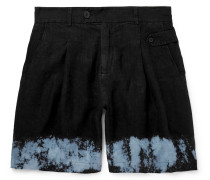 Wide-leg Dip-dyed Linen Shorts - Black