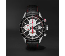 Carrera Limited Edition Indy 500 Automatic Chronograph 41mm Steel And Leather Watch - Black