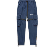 Tapered Webbing-trimmed Cotton-blend Cargo Trousers