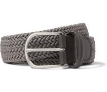 3.5cm Grey Leather-trimmed Woven Elastic Belt