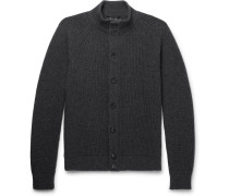 Slim-fit Suede-trimmed Ribbed Cashmere Cardigan
