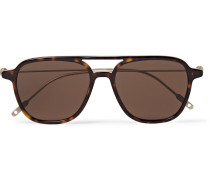 Navigator Aviator-style Tortoiseshell Acetate And Gold-tone Sunglasses - Brown