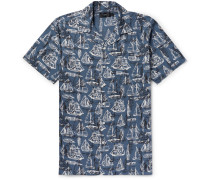 Camp-collar Printed Cotton-voile Shirt - Blue