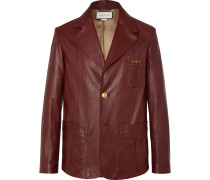 Slim-Fit Horsebit Leather Blazer