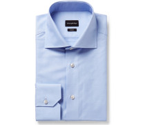 Light-blue Trofeo Slim-fit Cutaway-collar Cotton-poplin Shirt