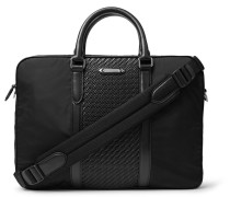 Nylon And Pelle Tessuta Leather Briefcase