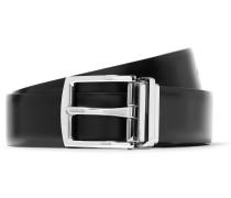3.5cm Black And Dark-brown Reversible Leather Belt - Black