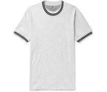 Slim-fit Stripe-trimmed Mélange Cotton-jersey T-shirt