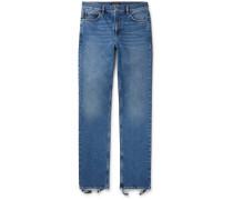 Slim-fit Distressed Stretch-denim Jeans - Blue