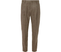 Tapered Pleated Checked Wool Trousers