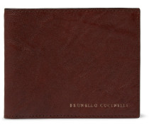 Creased-leather Billfold Wallet - Brown