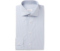 Blue Striped Cotton-Poplin Shirt