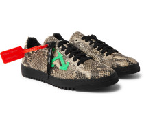 2.0 Suede-Trimmed Snake Effect-Leather Sneakers