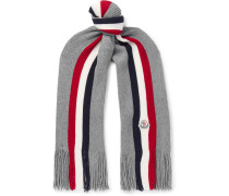 Striped Fringed Virgin Wool Scarf