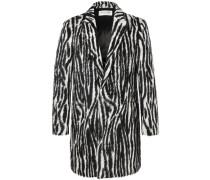 Slim-fit Zebra-print Llama Hair-blend Coat