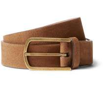 4.5cm Brown Suede Belt - Brown