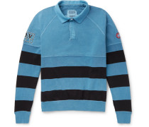Striped Loopback Cotton-jersey Polo Shirt - Blue