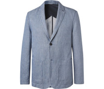Light-blue Cotton And Linen-blend Chambray Blazer - Blue