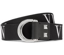 Valentino Garavani 3.5cm Black Logo-jacquard Webbing Belt - Black