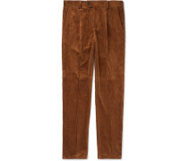 Pleated Cotton-corduroy Trousers - Brown