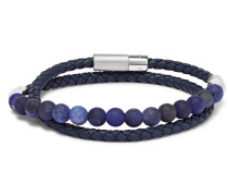 Woven Leather And Sodalite Wrap Bracelet - Blue