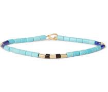14-karat Gold, Turquoise And Wood Bead Bracelet