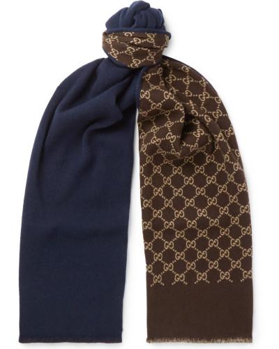 Logo-intarsia Wool And Silk-blend Scarf - Navy