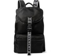 Logo-jacquard And Leather-trimmed Nylon Backpack - Black