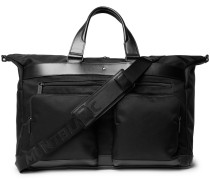 Nightflight Leather-trimmed Twill Holdall - Black