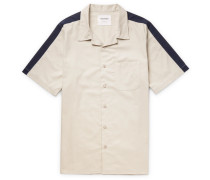 Passin' Me By Camp-collar Two-tone Cotton-twill Shirt