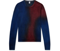 Slim-fit Ombré Cashmere And Silk-blend Sweater - Navy