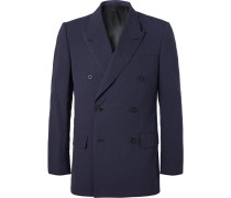 Harry's Navy Double-breasted Cotton-seersucker Suit Jacket