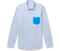 Slim-fit Pvc-trimmed Cotton-poplin Shirt - Light blue