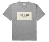 Oversized Logo-appliquéd Mélange Cotton-blend Jersey T-shirt - Gray