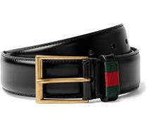 3.5cm Black Webbing-trimmed Leather Belt - Black