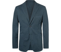 Navy Slim-fit Unstructured Cotton-twill Blazer - Navy