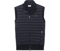 Panelled Cotton-blend Jersey And Quilted Shell Down Gilet - Navy