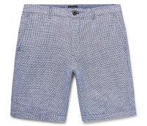 Maddox Slim-fit Houndstooth Slub Linen Shorts
