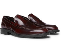 Burnished-leather Penny Loafers