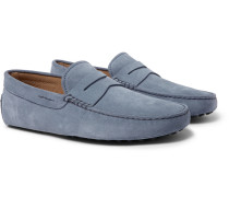 Gommino Suede Driving Shoes - Light blue