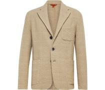 Beige Slim-Fit Unstructured Cotton-Blend Bouclé Blazer