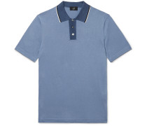 Slim-Fit Silk-Trimmed Cotton Polo Shirt