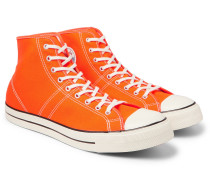 Lucky Star Faded Glory Rubber-trimmed Canvas High-top Sneakers - Orange
