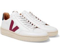 V-12 Bastille Rubber-trimmed Leather Sneakers - White