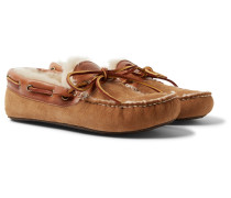 Fireside Leather-trimmed Shearling-lined Suede Slippers - Brown