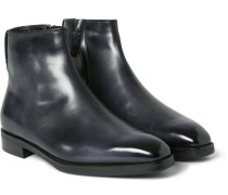 Shearling-lined Leather Boots - Black
