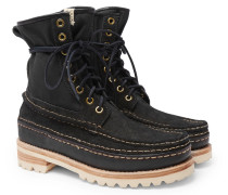 Grizzly Panelled Suede, Twill And Rubber Boots - Black