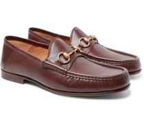 Easy Roos Horsebit Collapsible-heel Leather Loafers - Dark brown