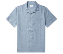 Vacation Camp-Collar Mélange Linen and Cotton-Blend Shirt
